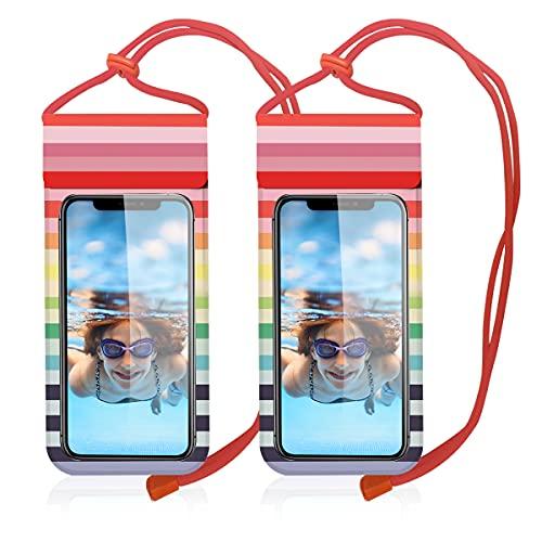 wasserdichte Handyhülle Tasche 2 Stücke aus Weichem Leder Doppeltes Wasserdichtes Design Handy Wasserschutzhülle für Strand Schwimmen Tauchen Kompatibel mit iPhone Samsung & Weiteren Smartphones