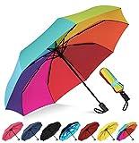 Rain-Mate Compact Travel Umbrella - Windproof, Reinforced Canopy, Ergonomic Handle, Auto Open/Close (Rainbow)