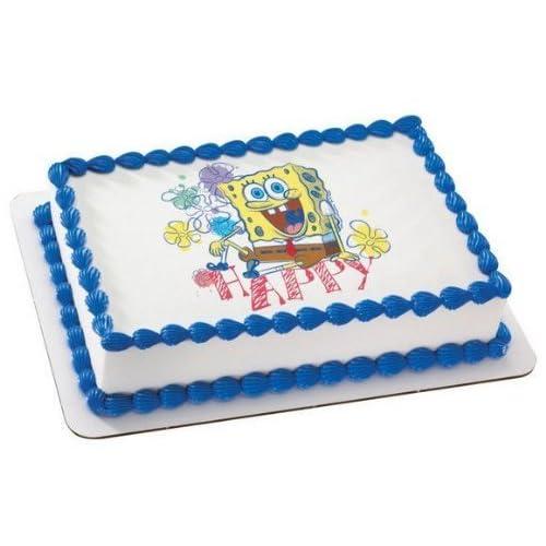 1 4 Sheet Spongebob Happy Birthday Edible Image Cake Cupcake Topper