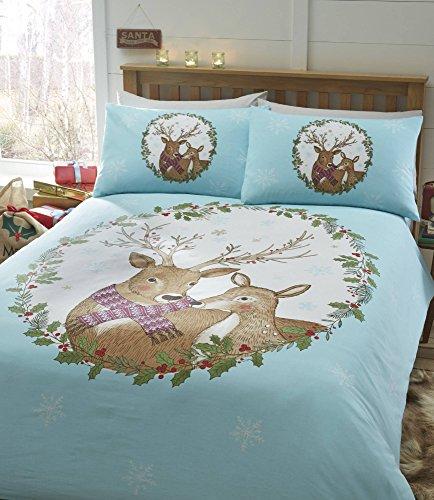 Mr & Mrs Stag Christmas Duvet Cover and 2 Pillowcase Set, Blue, Super-King