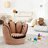 Casart Baseball Glove Shaped Kids Sofa Chair, Children Leisure Upholstered Chair, Five Fingers Sofa Great for Reading and Playing, Brown