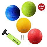 New Bounce Playground Ball Set - 8.5 Inch Dodge-Ball Balls - Set of 4 PG8.5 Balls, 1 Pump, and 2 pins,...