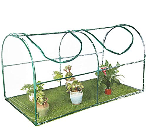 Tingyuan Mini Greenhouse Portable Greenhouse with Clear Cover Small Arc Greenhouse for Indoor Outdoor, 35.4 x 70.8 x 39 Inches