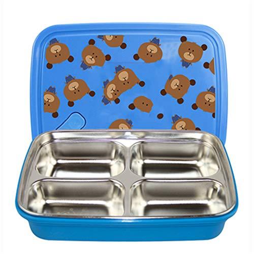 4 vakken Lunch Box grote geïsoleerde Bento dozen met vierzijdig slot ontwerp, kwaliteit voedsel Gekleurd roestvrij staal, Bpa gratis en stevige plastic behuizing