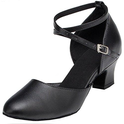 Minitoo Damen Kreuz Leder Gitarrengurt Latin Salsa Ballroom Dance Schuhe, Schwarz - Black-5cm Heel - Größe: 42 / 8 UK
