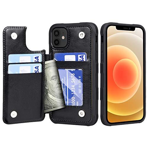 cover a portafoglio Migeec Custodia iPhone 12 / iPhone 12 PRO - Custodia a Portafoglio con Tasche Porta Carte [Antiurto] Cover Posteriore a Scatto per iPhone 12 / iPhone 12 PRO da 6