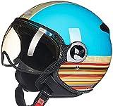LUOQI Unisex Medio casco motocicleta cara abierta visera de liberación rápida hebilla ciclismo Motocross trajes hombres mujeres jóvenes tamaño ajustable