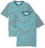 Amazon Essentials Men's 2-Pack Slim-Fit Short-Sleeve Crewneck Stripe T-Shirt, Teal/White, Large