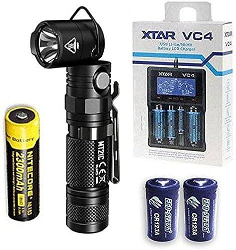 NITECORE MT21C Lampe torche réglable à 90 degrés 1000 luPour des hommes avec batterie NL183, chargeur VC4 + 2 piles Eco-Sensa CR123A