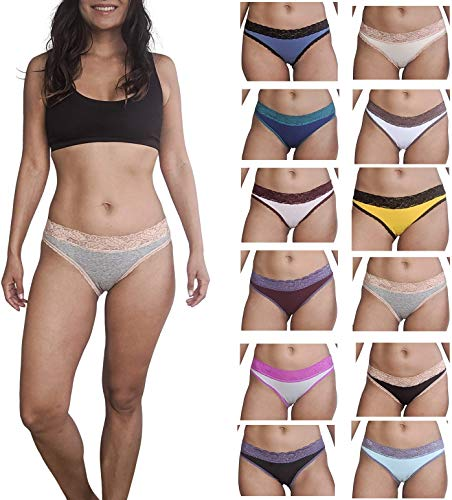 Sexy Basics Womens 12 Pack Bikini Panties Cotton-Spandex Lace Underwear/Ultra-Soft Cotton Stretch Underwear (12 Pack - Garb Bag Solid Colors w Contrast Lace, Medium)