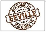 Welcome to Sevilla - Imán para nevera, diseño de sello vintage redondo