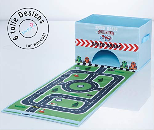 TBB-Family Kinder Aufbewahrungsbox, Spielzeugkiste, Faltkiste mit Deckel und Griffen für Spielzeug und Kinderzimmer, Autorennen