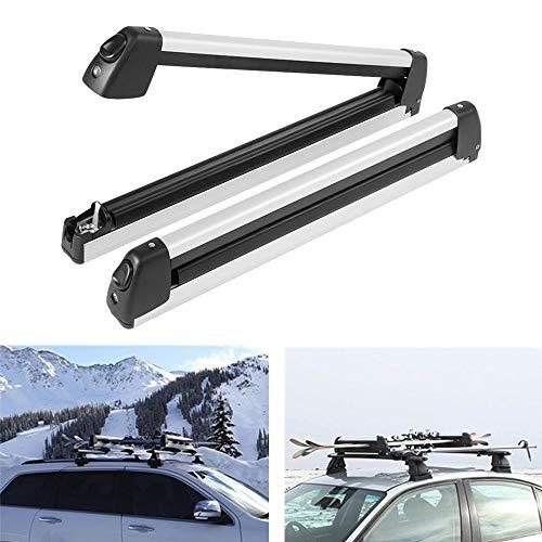 Porta Esquís de Techo, Portaesquis Barras para Snowboard de Aluminio Diseño Telescópico Sistema de Transporte para Esquís, Capacidad máxima: 2 esquís y 4 Tablas de Snowboard