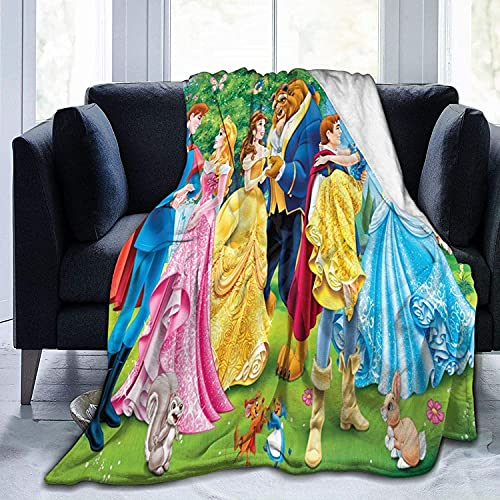 KINGAM Manta de franela clásica de Disney con diseño de princesa, manta grande, suave, varios tamaños para adultos, niños, adolescentes, accesorios de dormitorio bien emparejados