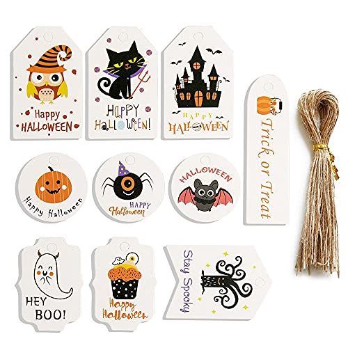Kitcheblest 50PCS Halloween Hanging Tags with