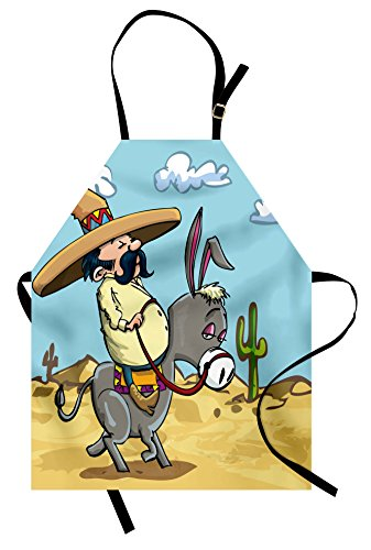 Ambesonne Cartoon Apron, Mexican Man Wearing Sombrero Hat Riding a Donkey in The Desert with Cactus Plants, Unisex Kitchen Bib with Adjustable Neck for Cooking Gardening, Adult Size, Sand Blue