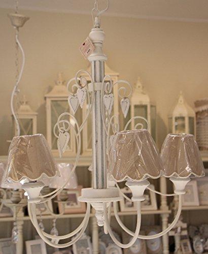 Lampadario a 5 luci con cappelli, Angelica Home & Country