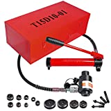 15 Ton 1/2' to 4' Hydraulic Knockout Punch Driver Kit Hole Complete Tool 10 Dies 11 14 Gauge Tool Metal Case Red