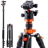 一眼レフ 三脚 K&F Concept 一脚可変 カメラ三脚 軽量 コンパクト アルミ合金製 自由雲台 デジタルカメラ 一眼レフ用 クイックシュー式 レバー式ロック 25mmパイプ径 収納専用ケース付き 折り畳み可能 オレンジ S254