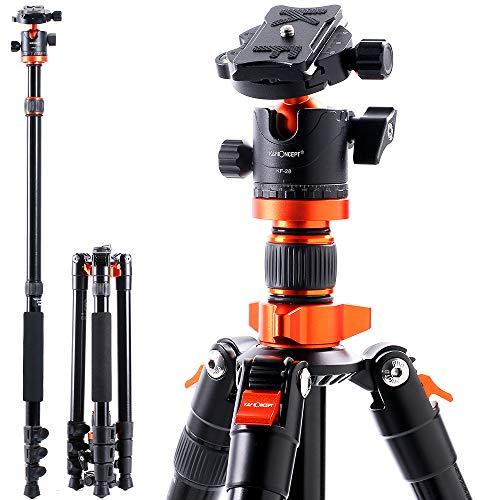 K&F Concept SA254M1 Trípode de Viajeen Aluminio con Monopie 360 PanoramaRótula de Bola Placa Rápida Liberación paraCámara DSLR Canon Nikon Sony