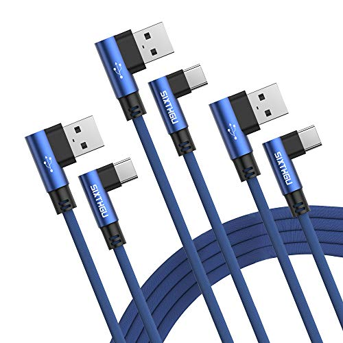 SIXTHGU Cable USB Tipo C, 3Pack [2M+2M+2M] 3A Cargador Tipo C Nylon Carga Rápida y Sincronización Cable USB C para Galaxy S10/S9/S8 Note9, Xiaomi Mi A2/A1, Huawei P30/P20/Mate20, Xperia XZ