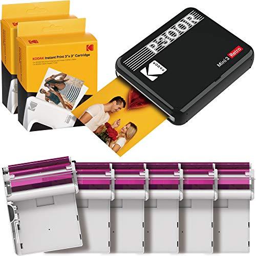KODAK Mini 3 Retro + 68 Fotos - mobiler Fotodrucker für Smartphone (iPhone & Android), quadratische (Polaroid) Sofortbilder in Premium-Qualität unterwegs mit dem Handy drucken