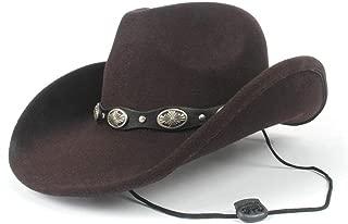 AU-KANGSHUAI New Adult Wild Hat Men Women Winter Western Cowboy Hat With Punk Belt Wide Brim Hat Size 56-58CM