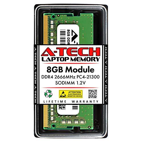 A-Tech 8GB DDR4 2666MHz SODIMM PC4-21300 Non-ECC CL19 1.2V 260-Pin SO-DIMM Laptop Notebook Computer RAM Memory Upgrade Module