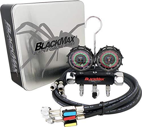 CPS BlackMax MBH4P5EZ 2V Manifold R-134A, 22, 404A, 410A Gauges & 5' Premium BV Hoses