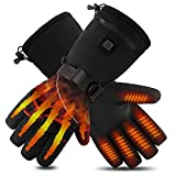JIEGOO Battery Powered Rechargeable Heated Gloves for Men/Women, Waterproof Insulated Electric Heating Thermal Gloves for Winter Warmer Outdoor Riding Hunting climbing