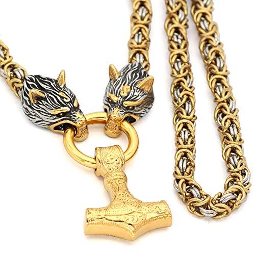 Viking Mjolnir Thor's Hammer Pendant Wolf Heads Necklace, Nordic Mythology Odin Fenrir Amulet,Men Stainless Steel Byzantine King Chain Jewelry,Gold,50CM