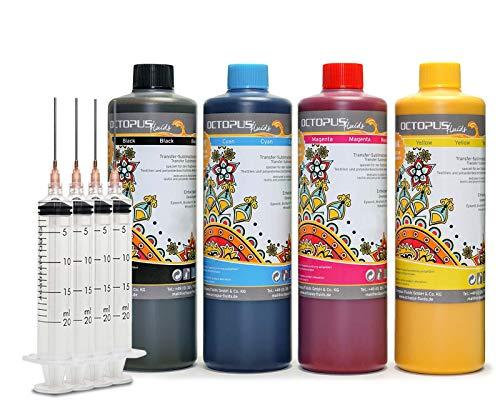 OCTOPUS 4x 500 ml Sublimationstinte CMYK für Textildruck, Transferdruck, Sublimation Ink kompatibel für Epson, Brother, Roland, Mimaki, HP, Durst Mutoh und ECOTank Drucker