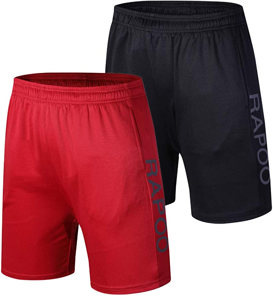 Rapoo Mens Workout Running Shorts Lightweight Quick Dry Gym Athletic Training Short Pants with Liner Pocket