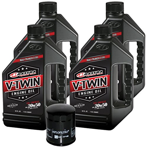 MaximaHiflofiltro VTEOCK12 Full Synthetic Engine Oil Change Kit for Harley Davidson Twin Cam V-Twin