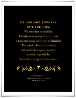 Abraham Lincoln Presidential Inaugural Speech Gold Foil Art Print. 36 Colours. Better Angels of our Nature. American History Poster
