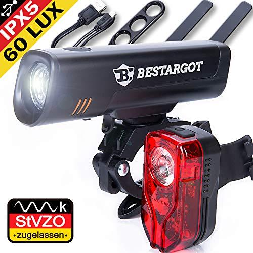 LED Fahrradlicht Set, USB Wiederaufladbare, StVZO Zugelassen LED Fahrradbeleuchtung fahrradlicht abnehmbar fahrradlichter Set Wasserdicht Frontlicht Rücklicht 2600mAh 300Lumen Licht für Fahrrad Set