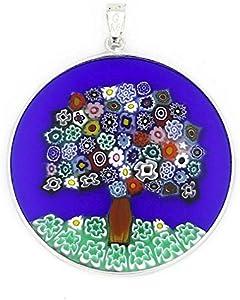 """GlassOfVenice Millefiori - Colgante de cristal de Murano, diseño de árbol de la vida en marco de plata de 1 1/2"""""""