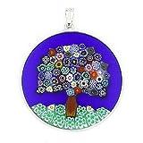 GlassOfVenice Colgante Millefiori de cristal de Murano, árbol de la vida en marco de plata de 3,5 cm