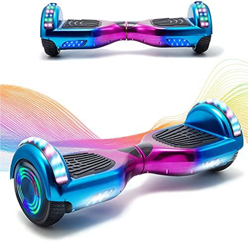 HappyBoard Elegante Bilancia da 6,5 Pollici, Scooter Elettrico Autobilanciante, Ruote da Skateboard con Luce a LED, Motore 700 W Bluetooth per Bambini e Adulti (Viola)