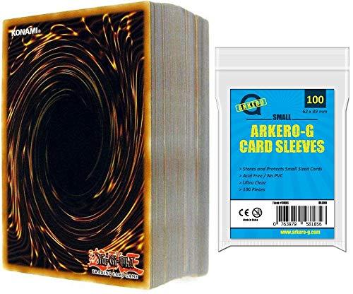 A Yu-Gi-Oh! 100 Karten Sammlung SPARSET -DEUTSCH- (95 Commons, 3 Rares, 2 Holos) + Arkero-G Small Soft Card Sleeves (YuGiOh Kartenhüllen)
