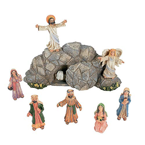 Fun Express Jesus Resurrection Set for Easter (8 Hand Painted Pieces) Home Decor and Christian Figurines