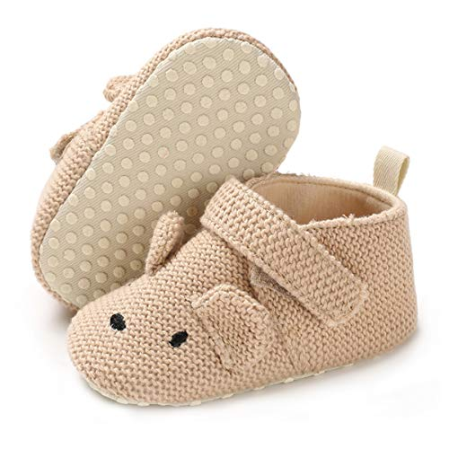 BENHERO Baby Boys Girls Shoes Soft Sole Cartoon Animals Slippers Infant Toddler Prewalker Moccasins Crib First Walkers House Shoes (12-18 Months M US Toddler J/Khaki)