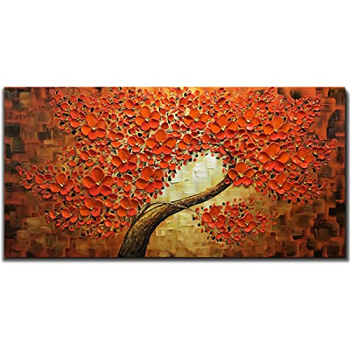 "V-inspire Art, 2448"" Red Wall Art Modern Hand-Painted Red Lucky Tree Oil Painting Flower Art Canvas Art Living Room White Wall Decoration Hanging…"