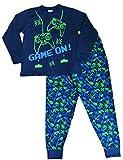 Pijama largo para niños con mensaje: «Game On», invasor del espacio, talla de 7 a 14 años, color verde y azul Azul azul 11-12 Años