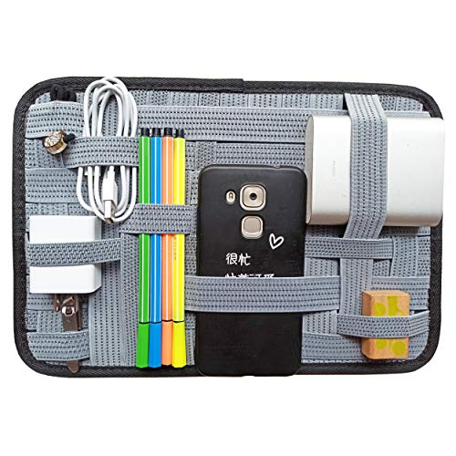 LZVTO Travel Organizer Elastic Organizer Board Electronic Gadget Storage Case,Desk Organizer,12 x 8 Inches (Common, Grey)