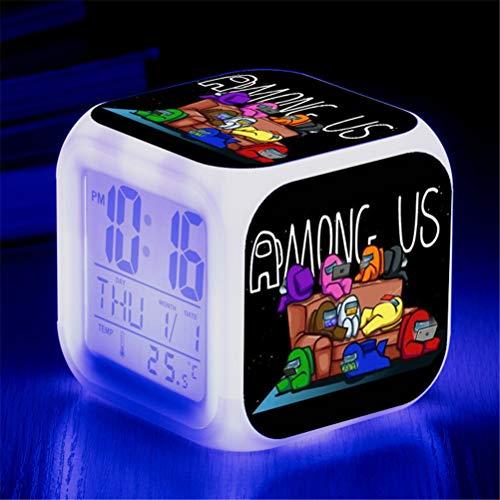 Figura de juego entre nosotros Reloj despertador LED luminoso, luz de escritorio con destello de colores, reloj cuadrado que cambia de color colorido, reloj de dormitorio (D)