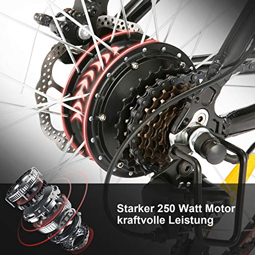 "ANCHEER Elektrofahrrad Ebike Mountainbike, 26""/27.5"" Elektrisches Fahrrad mit 36V 8Ah/10Ah/12Ah Lithium-Batterie und Shimano 21-Gang (26"" Wanderer Schwarz rot 12Ah)"