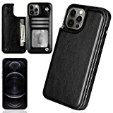 iMangoo Compatible with iPhone 12 Pro Max Case Wallet Folio Cover PU Leather ID Credit Card Slot Cash Pocket Card Holder Magnetic Closure Flip Cases for iPhone 12 Pro Max 2020 6.7'' Black