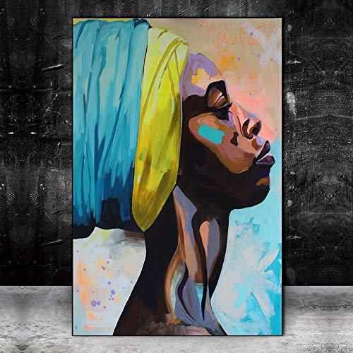 wZUN Póster de Arte de Pintura de Lienzo Abstracto de Mujer Africana en la Pared e impresión Retrato de Mujer Negra Cuadro de Arte de Lienzo decoración del hogar 50x70cm