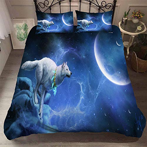 aakkjjzz Single Duvet Cover Sets 3 Pcs Easy Care Luxurious Bedding Set Microfiber for Kids Boys Girl Wolf and Moon Quilt Duvet Cover 135X200cm and 2 Pieces Pillowcases 50X75cm for Double Bed